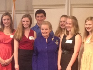 Madeleine Albright with students