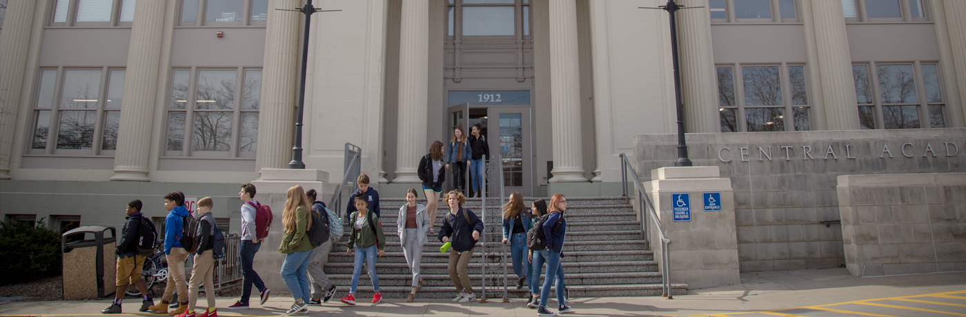 Central Academy Students Leaving Building